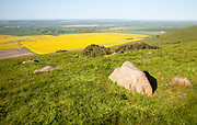 Sarsen stones on Milk Hill with a view over the Vale of Pewsey, Alton Barnes, Wiltshire, England