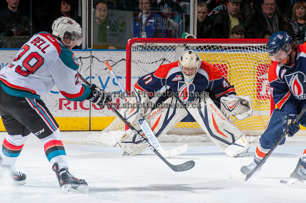 KELOWNA, CANADA - DECEMBER 27: Taran Kozun G #41 of the Kamloops Blazers defends against the Kelowna Rockets on December 27, 2013 at Prospera Place in Kelowna, British Columbia, Canada.   (Photo by Marissa Baecker/Shoot the Breeze)  ***  Local Caption  ***