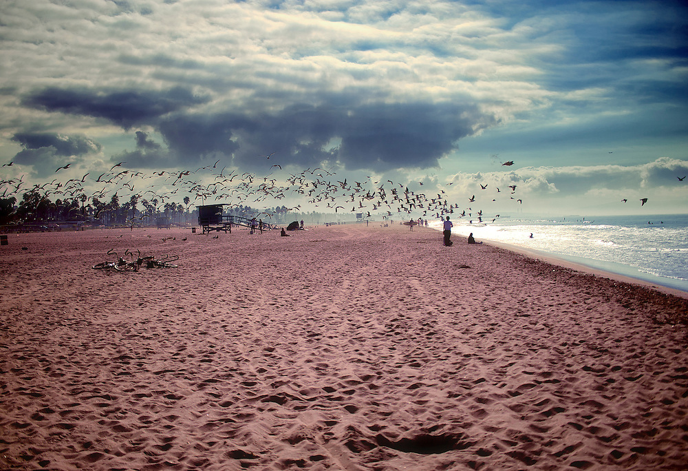 Santa Monica Beach on a dramatic cloudy day