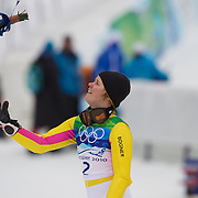 Winter Olympics, Vancouver, 2010.Viktoria Rebensburg, Germany, winning the Gold Medal in the Alpine Skiing Ladies' Giant Slalom at Whistler Creekside, Whistler, during the Vancouver Winter Olympics. 24th February 2010. Photo Tim Clayton