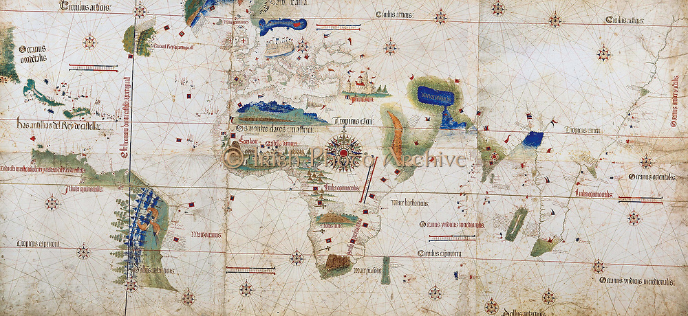 World map of 1502 showing the continent of Africa in the centre. Named after Alberto Cantino,  Italian diplomatic agent in Lisbon,  who obtained it  for the Duke of Ferrara. The rivalry between Spain and Portugal over trade and conquest was regulated by the Reaty of Tordesillas 1494. The blue line on left shows the Papal demarcation of territory, Spain to the West, Portugal to the East.