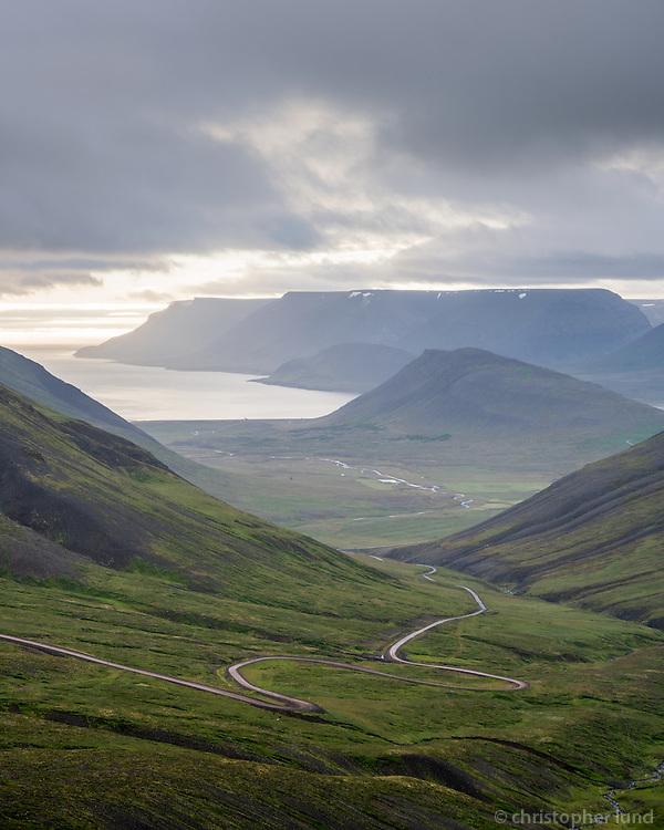Viewing north towards Dýrafjörður fiord from top of Hrafnseyrarheiði mountain pass in West fiords of Iceland.