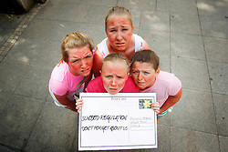 Repro Free: 26/06/2013<br /> Elaine Crossan (12) from Rathfarnham, Aisling Mellet (12) from Rathfarnham and Th&eacute;r&egrave;se Reilly (11) from Leopardstown are pictured with Libby Simmons (10) from Mount Merrion as they deliver a postcard to Oireachtas members reminding them of the Government&rsquo;s promise to publish legislation to protect young people from using cancer-causing sunbeds. The Irish Cancer Society launched a national campaign calling on Government to publish the long-awaited legislation to regulate sunbed use so that children and young people are protected from the risk of developing skin cancer. There is currently no regulation of sunbeds in Ireland, meaning that children under 18 and those with very fair skin can use sunbeds without proper warning or supervision. Picture Andres Poveda