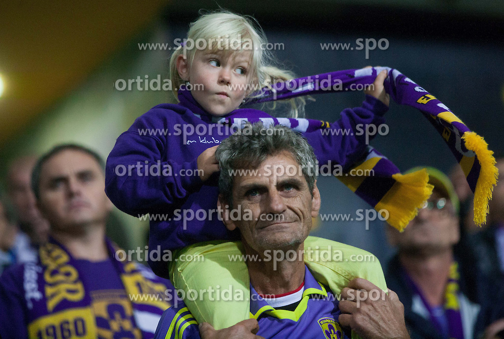 Viole, Supporters of Maribor during Second Leg football match between NK Maribor (SLO) and FC Viktoria Plzen (CZE) of UEFA Champions League 2013/14 Play-Offs on August 28, 2013 in Stadium Ljudski vrt, Maribor, Slovenia. FC Viktoria Plzen defeated NK Maribor 1-0 and Qualify for Champions League 2013/14. (Photo by Vid Ponikvar / Sportida.com)