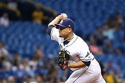May 9, 2017 - St. Petersburg, Florida, U.S. - WILL VRAGOVIC   |   Times.Tampa Bay Rays relief pitcher Erasmo Ramirez (30) throwing in the seventh inning of the game between the Kansas City Royals and the Tampa Bay Rays at Tropicana Field in St. Petersburg, Fla. on Tuesday, May 9, 2017. (Credit Image: © Will Vragovic/Tampa Bay Times via ZUMA Wire)