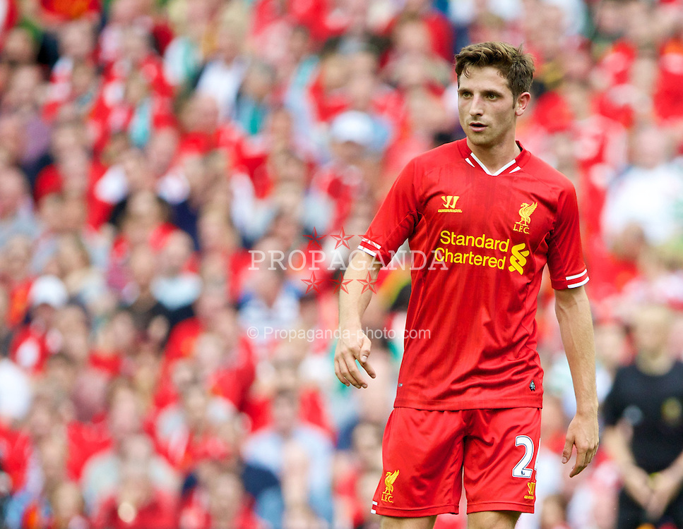 DUBLIN, REPUBLIC OF IRELAND - Saturday, August 10, 2013: Liverpool's Joe Allen in action against Glasgow Celtic during a preseason friendly match at the Aviva Stadium. (Pic by David Rawcliffe/Propaganda)