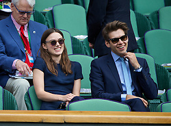 LONDON, ENGLAND - Saturday, July 5, 2014: Actress Keira Knightley and her husband James Righton during the Ladies' Singles Final match on day twelve of the Wimbledon Lawn Tennis Championships at the All England Lawn Tennis and Croquet Club. (Pic by David Rawcliffe/Propaganda)