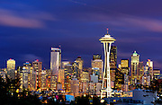 Seattle Skyline and Space Needle from Queen Anne Hill during Blue Hour.