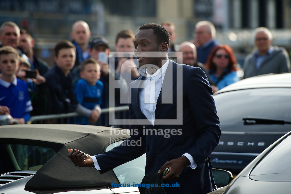 General view of the exterior of the stadium showing Romelu Lukaku of Everton arriving ahead of the Barclays Premier League match at Goodison Park, Liverpool<br /> Picture by Ian Wadkins/Focus Images Ltd +44 7877 568959<br /> 16/04/2014