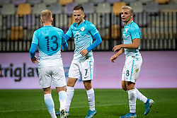 Luka Štor of Slovenia, Tomi Horvat of Slovenia and Dejan Petrovič of Slovenia celebrating first goal for Slovenia during friendly Football match between U21 national teams of Slovenia and England, on October 11, 2019 in Ljudski Vrt, Maribor, Slovenia. Photo by Blaž Weindorfer / Sportida