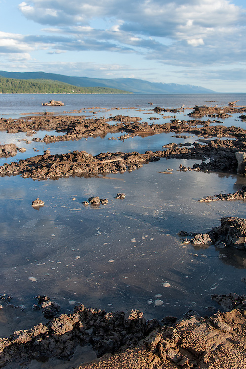Here is an example of polluted water caused by the release of fine clay silts due to the gouging of the lakebed that is not allowed under the developer's permit from the county.  Destruction of the lakebed and the resulting loss of scenic value to the area caused by construction of a private bridge to Dockstader Island on the north shore of Flathead Lake in Bigfork, Montana, in violation of the state's Lakeshore Protection Act, as photographed on May 20, 2015.