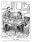 """Mein Triumf. """"It's the publishers. They want to know if the sequel to Mein Kampf will be ready for the autumn lists."""" (Hitler is busy writing the second volume of his memoirs amid the failures on the floor: Ploesti, Orel, Caucasus, Stalingrad, Kiev, Sicily, Essen, Hamburg, Ruhr, Cologne and Dusseldorf, while having crossed out the word 'Friend' infront of Benito)"""