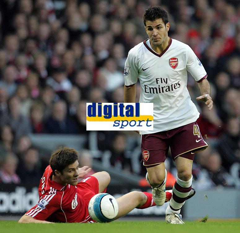 Photo: Paul Thomas.<br /> Liverpool v Arsenal. The FA Barclays Premiership. 28/10/2007.<br /> <br /> Cesc Fabregas goes past Xabi Alonso (L) of Liverpool.
