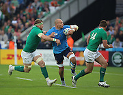 Italy's back row and Captain Sergio Parisse  was a big inspiration to the Italians but could not stop them losing during the Rugby World Cup Pool D match between Ireland and Italy at the Queen Elizabeth II Olympic Park, London, United Kingdom on 4 October 2015. Photo by Matthew Redman.