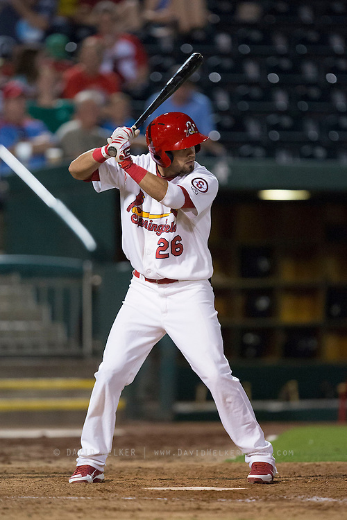 Luis Mateo (26) of the Springfield Cardinals stands at bat during a game against the Northwest Arkansas Naturals at Hammons Field on August 20, 2013 in Springfield, Missouri. (David Welker)