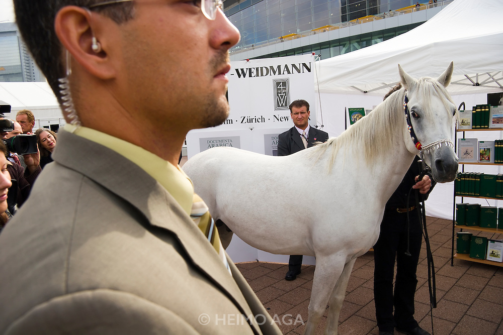 Frankfurt Book Fair, biggest in the World..Sheikh Dr. Sultan Bin Mohammed Al Qassimi, the Emir of Sharjah, is presented with 3 year old Arabian horse Hamasa Mazuz by his German editor, Dr. W. Georg Olms.