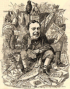 John Holker (1828-1882) English lawyer and politician.  Member of Parliament for Preston (1872-1882).  Solicitor-general (1874), Attorney-general (1875-1880).    Cartoon by Edward Linley Sambourne in the Punch's Fancy Portraits series from 'Punch' (London, 24 December 1881).