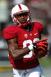 PALO ALTO, CA - OCTOBER 06: Wide receiver Ty Montgomery #88 of the Stanford Cardinal warms up before the game against the Arizona Wildcats at Stanford Stadium on October 6, 2012 in Palo Alto, California. The Stanford Cardinal defeated the Arizona Wildcats 54-48 in overtime. (Photo by Jason O. Watson/Getty Images) *** Local Caption *** Ty Montgomery