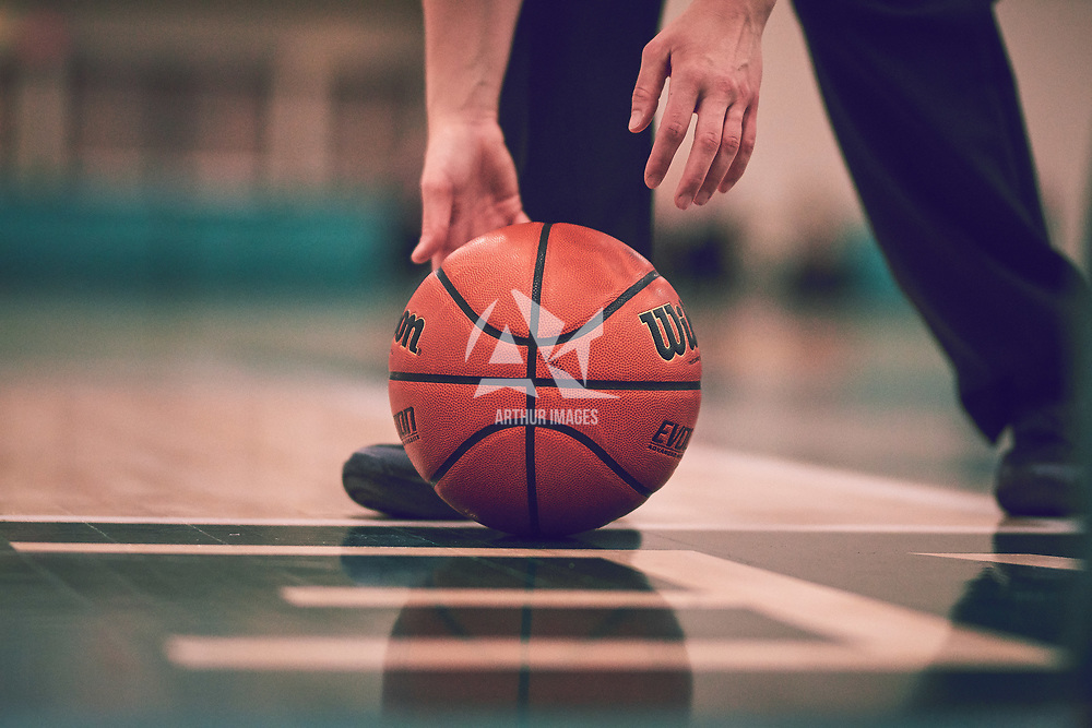 A basketball during the Women's Basketball Home Game on Fri Feb 15 at Centre for Kinesiology,Health and Sport. Credit: Arthur Ward/Arthur Images