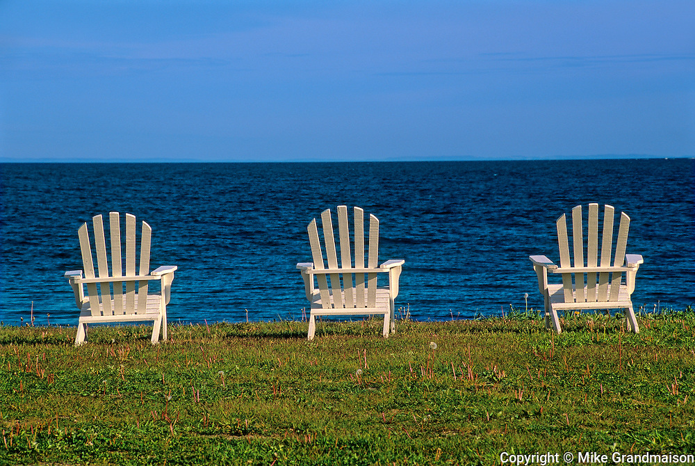 Chairs by the Gulf of St. Lawrence<br /> Baie-des-Sables<br /> Quebec<br /> Canada
