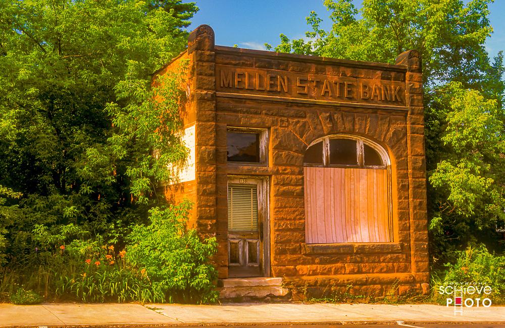 The historic Mellen State Bank building in Mellen, Wisconsin.