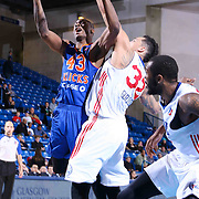 Westchester Knicks Forward Thanasis Antetokounmpo (43) drives towards the basket as Delaware 87ers Forward Drew Gordon (32) defends in the second half of a NBA D-league regular season basketball game between the Delaware 87ers and the Westchester Knicks (New York Knicks) Wednesday, Feb. 17, 2015 at The Bob Carpenter Sports Convocation Center in Newark, DEL