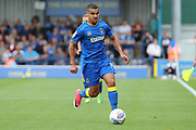 AFC Wimbledon striker Kweshi Appiah (9) dribbling during the EFL Sky Bet League 1 match between AFC Wimbledon and Shrewsbury Town at the Cherry Red Records Stadium, Kingston, England on 12 August 2017. Photo by Matthew Redman.