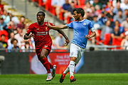 Manchester City midfielder David Silva (21) tussles with Liverpool midfielder Georginio Wijnaldum (5) during the FA Community Shield match between Manchester City and Liverpool at Wembley Stadium, London, England on 4 August 2019.