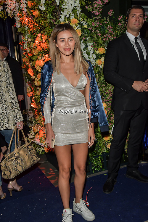 Montana Brown arrives at Tramp Members Club 40 Jermyn Street, on 23 May 2019, London, UK.