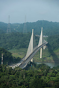 Aerial view of the Centennial bridge crossing the Panama canal, Panama, Central America