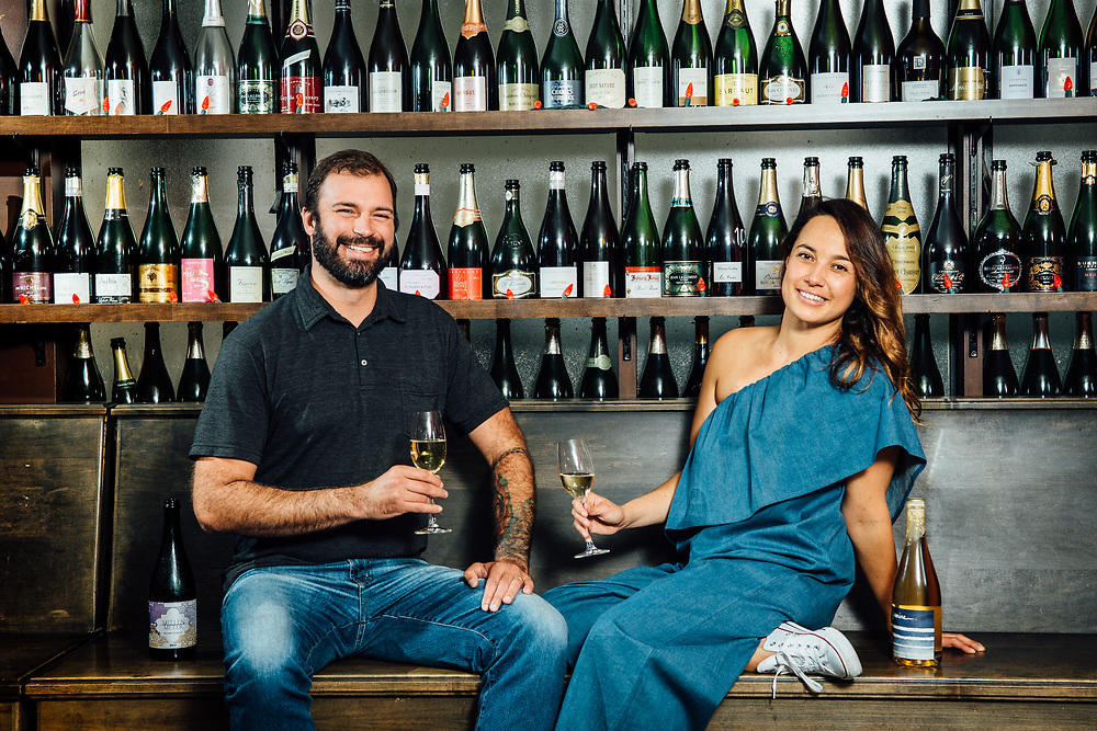 Robert Mellen Rowett and Kate Norris at Pix in Portland, Oregon celebrating their sparkling wine for an Oregon Wine Press photo shoot.