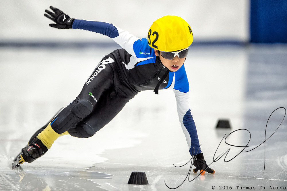 March 19, 2016 - Verona, WI - Jing-Kye Yen, skater number 182 competes in US Speedskating Short Track Age Group Nationals and AmCup Final held at the Verona Ice Arena.