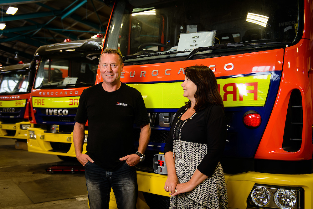 Environmental portrait of Fraser Engineering management: Martin Simpson and his business partner Raewyn Fraser.
