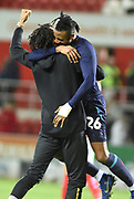 Jonathan Kodjia is lifted into the air after the EFL Sky Bet Championship match between Rotherham United and Aston Villa at the AESSEAL New York Stadium, Rotherham, England on 10 April 2019.