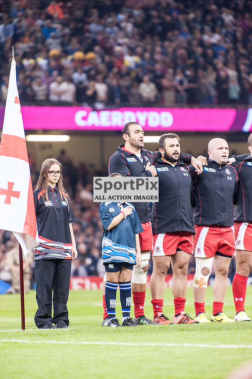 Georgian team sing their national anthem. Action from the New Zealand v Georgia game in Pool C of the 2015 Rugby World Cup at Milennium Stadium in Cardiff, 2 October 2015. (c) Paul J Roberts / Sportpix.org.uk