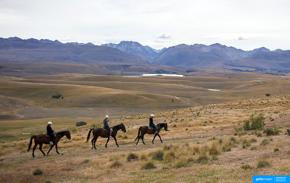 Horse trekking on the top of Mount John overlooking Lake Tekapo and the Mackenzie Country, South Island, New Zealand. 24th February 2011, Photo Tim Clayton.