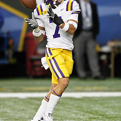 Dec 3, 2011; Atlanta, GA, USA; LSU Tigers cornerback Tyrann Mathieu (7) prior to kickoff of a game Georgia Bulldogs during the 2011 SEC championship game at the Georgia Dome.  Mandatory Credit: Derick E. Hingle-US PRESSWIRE