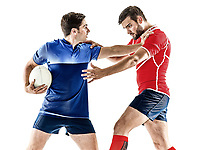 two caucasian rugby players men studio isolated on white background