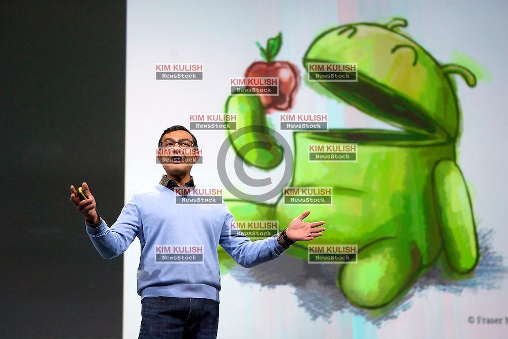 Vic Gundotra, senior vice president of engineering at Google Inc., speaks  at the Google I/O  developer's conference in San Francisco, California.
