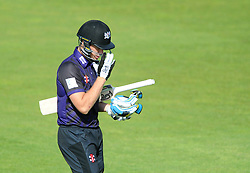 Peter Handscomb of Gloucestershire cuts a dejected figure as he is caught out by Michael Bates of Somerset from Lewis Gregory of Somerset bowl for 0 - Photo mandatory by-line: Dougie Allward/JMP - Mobile: 07966 386802 - 19/06/2015 - SPORT - Cricket - Bristol - County Ground - Gloucestershire v Somerset - Natwest T20 Blast