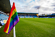 General view of rainbow corner flag inside the Priestfield stadium before the EFL Sky Bet League 1 match between Gillingham and Sunderland at the MEMS Priestfield Stadium, Gillingham, England on 7 December 2019.