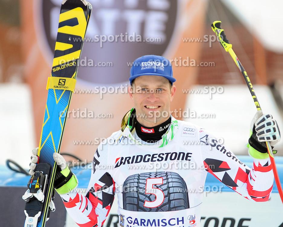 28.02.2015, Kandahar, Garmisch Partenkirchen, GER, FIS Weltcup Ski Alpin, Abfahrt, Herren, Siegerpräsentation, im Bild Romed Baumann (AUT, 2. Platz) // second placed Romed Baumann of Austria during the winner presentation for the men's Downhill of the FIS Ski Alpine World Cup at the Kandahar course, Garmisch Partenkirchen, Germany on 2015/02/28. EXPA Pictures © 2015, PhotoCredit: EXPA/ Erich Spiess