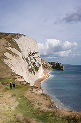Coastal path heading toward Swyre Head on the Jurassic Coast, Dorset, England, UK.
