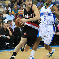 02 February 2009:  Portland Trailblazers guard Sergio Rodriguez (11) drives past New Orleans Hornets guard Chris Paul (3) during a 97-89 loss by the New Orleans Hornets to the Portland Trail Blazers at the New Orleans Arena in New Orleans, LA.