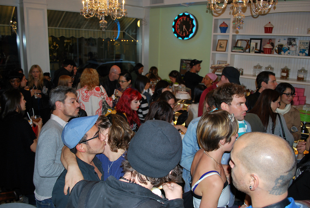 New York City, October 10, 2010. Little Cupcake Bakeshop in Nolita pulls in large crowds during its grand opening event.