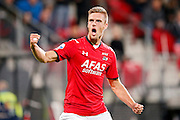 ALKMAAR - 26-09-2015, AZ - Heracles Almelo, AFAS Stadion, 3-1, AZ speler Markus Henriksen juicht nadat hij de 1-0 heeft gescoord.