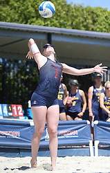 April 7, 2018 - Tucson, AZ, U.S. - TUCSON, AZ - APRIL 07: Arizona Wildcats defender Makenna Martin (2) serves the ball during a college beach volleyball match between the California Golden Bears and the Arizona Wildcats on April 07, 2018, at Bear Down Beach in Tucson, AZ. Arizona defeated California 3-2. (Photo by Jacob Snow/Icon Sportswire (Credit Image: © Jacob Snow/Icon SMI via ZUMA Press)