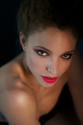 Close up of Young Woman with Red Lips