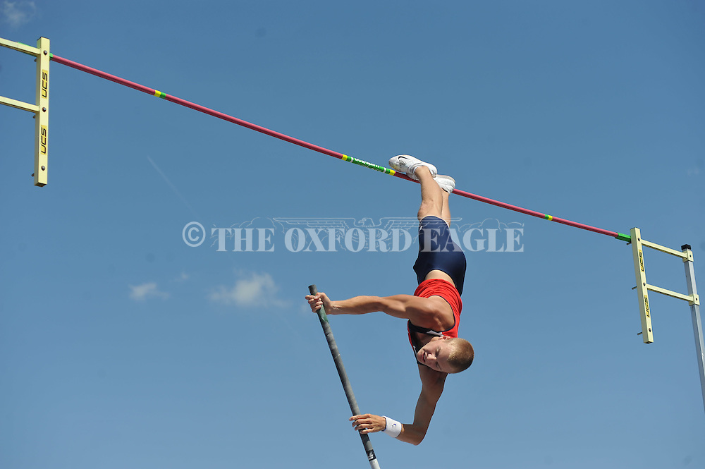 Ole Miss' Sam Kendricks pole vaults at the 2012 Mississippi Open in Oxford, Miss. on Saturday, April 14, 2012.