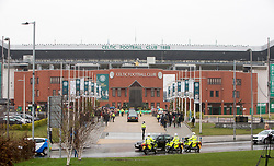 The funeral cortege arrives at Celtic Park. The funeral of former footballer Tommy Gemmell with the cortege at Celtic Park.